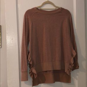 Light mauve sweater with ruffle details